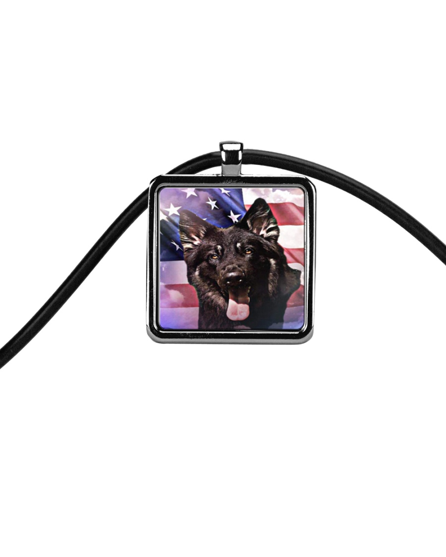 German Shepherd Cord Rectangle Necklace