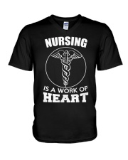Nursing Is A Work Of Heart V-Neck T-Shirt thumbnail