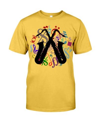 saxophones on music notes  Mens Premium TShirt