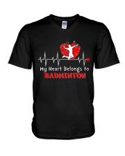 My Heart Belongs To Badminton V-Neck T-Shirt thumbnail