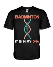 Badminton - It Is In My DNA V-Neck T-Shirt thumbnail