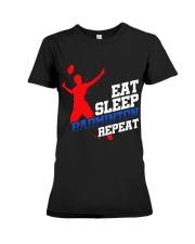 Eat Sleep Badminton Repeat Premium Fit Ladies Tee thumbnail