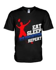 Eat Sleep Badminton Repeat V-Neck T-Shirt thumbnail