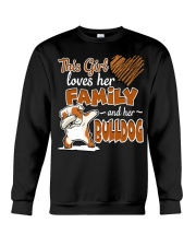 This Girl love her family and her bulldog Crewneck Sweatshirt thumbnail