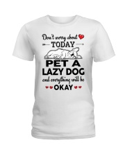 Pet a lazy dog and everything will be okay  Ladies T-Shirt front