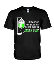 My Blood Type Is Green Beer V-Neck T-Shirt thumbnail