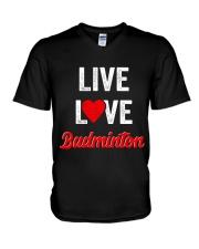 Live Love Badminton V-Neck T-Shirt thumbnail