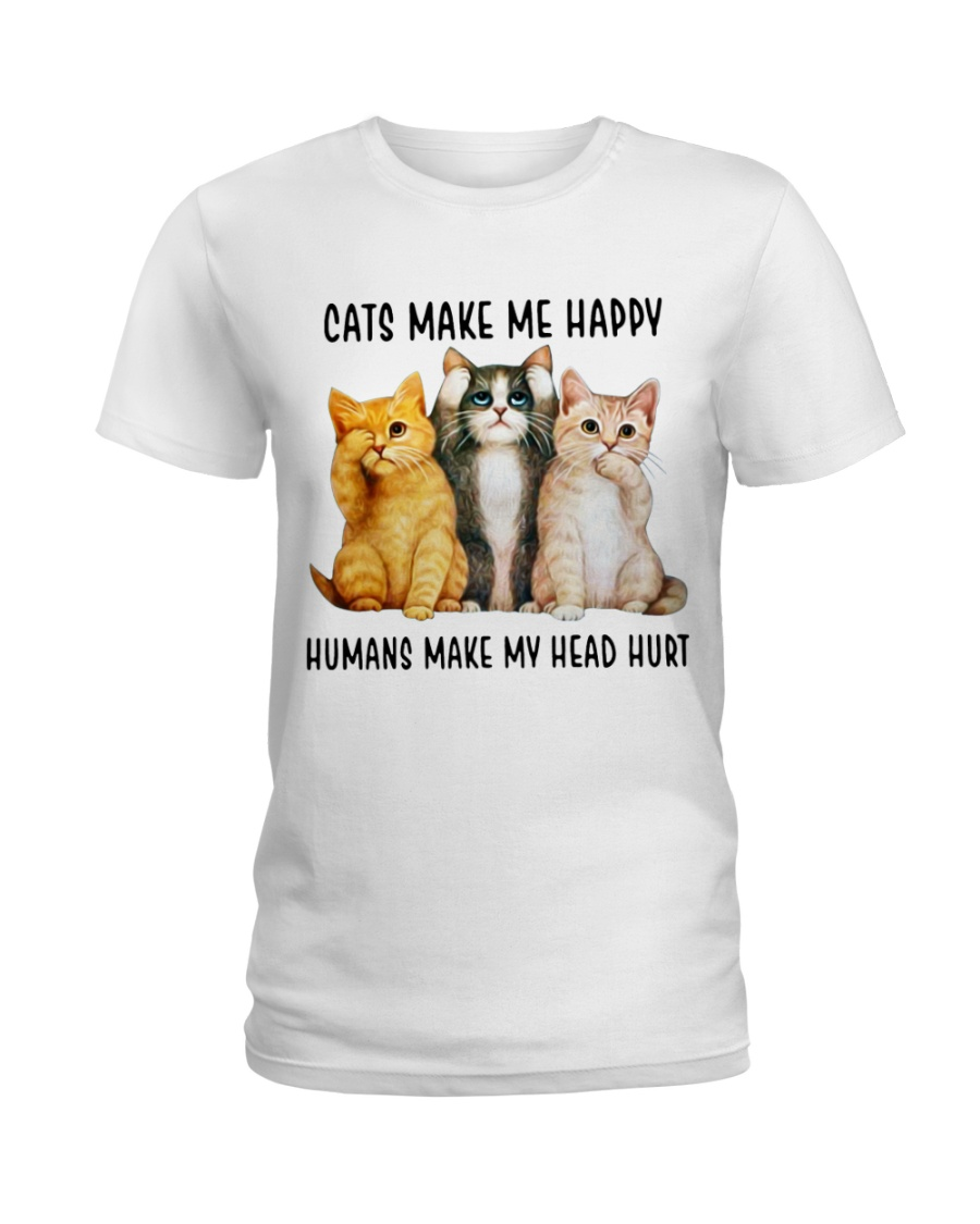 Cats Make Me Happy Ladies T-Shirt