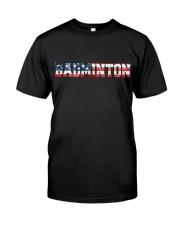Badminton American Flag Classic T-Shirt front