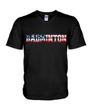 Badminton American Flag V-Neck T-Shirt thumbnail