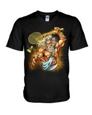Badminton King V-Neck T-Shirt thumbnail