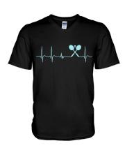 Badminton Heartbeat V2 V-Neck T-Shirt thumbnail