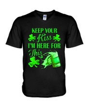 St Patrick Flag - I'm Here For This Beer V-Neck T-Shirt thumbnail