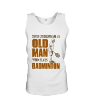Old Man Who Plays Badminton Unisex Tank thumbnail