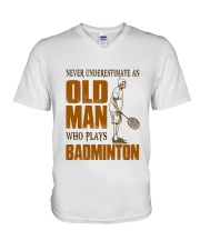 Old Man Who Plays Badminton V-Neck T-Shirt thumbnail