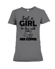 just a girl in love with her cofffee Premium Fit Ladies Tee thumbnail