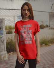 The Universe is made of Protons Neutrons Electrons Classic T-Shirt apparel-classic-tshirt-lifestyle-18