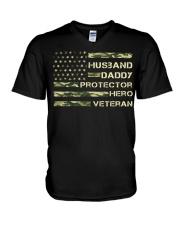 Husband Hero Veteran V-Neck T-Shirt thumbnail