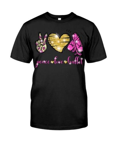peace love ballet glitter