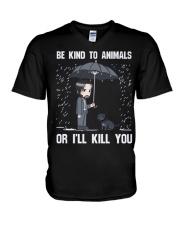 Be Kind To Animals Or I'll Kill You V-Neck T-Shirt thumbnail