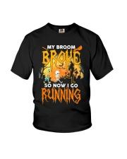 My Broom Broke So Now I Go Running Halloween Youth T-Shirt thumbnail