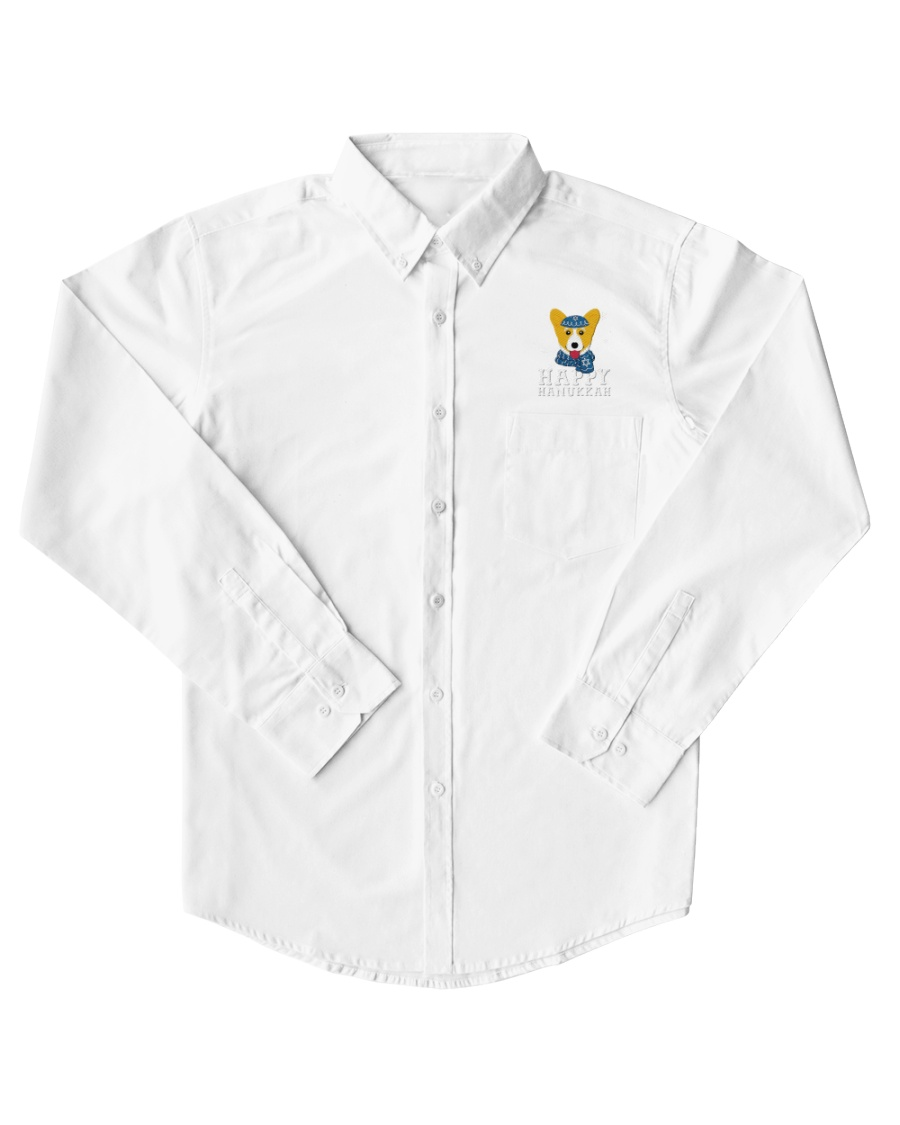 Corgi Happy Hanukkah Corgi Funny Jewish Holiday Dress Shirt