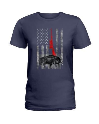 Boar Hunting Hog Hunting Deer American Flag T