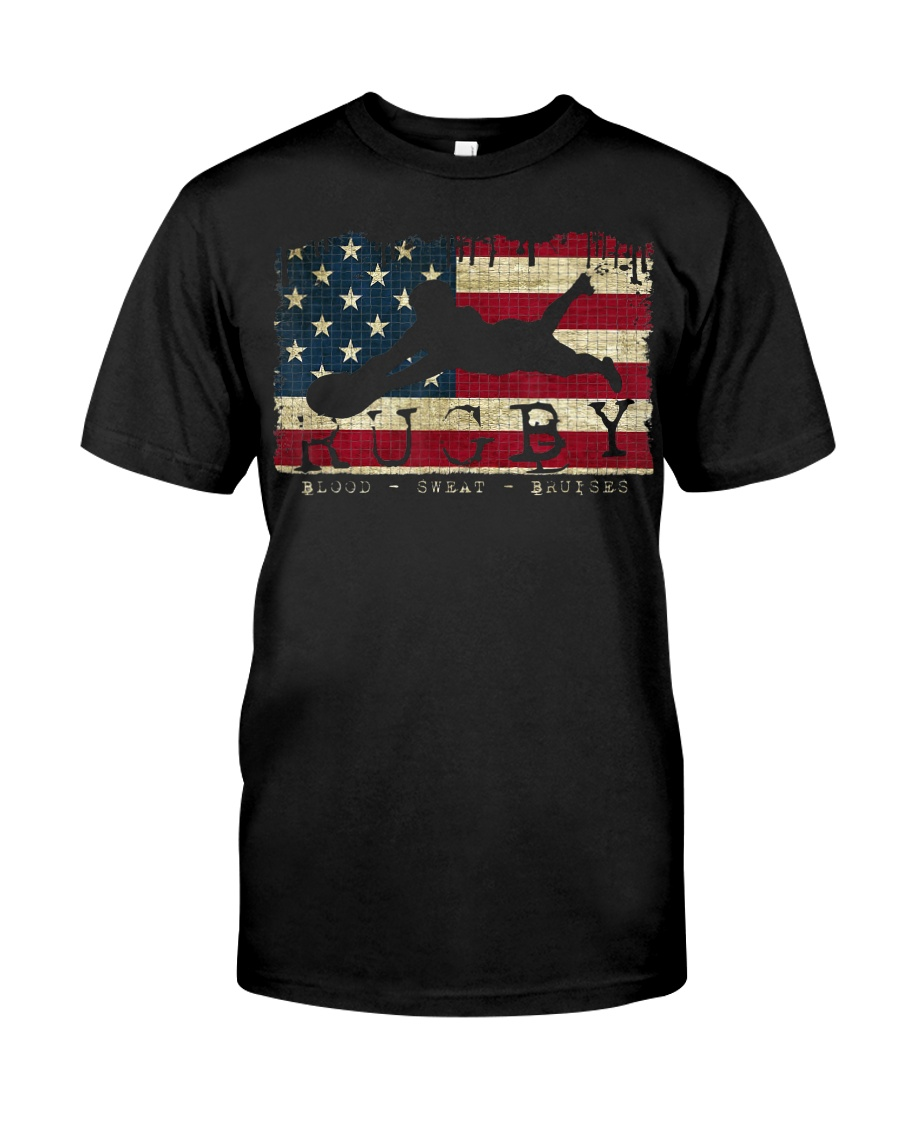 USA Flag Colors Rugby Blood Sweat Bru Classic T-Shirt