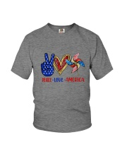 Peace Love American Flag 4Th Of July Youth T-Shirt front