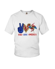 Peace Love American Flag 4Th Of July Youth T-Shirt thumbnail