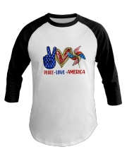 Peace Love American Flag 4Th Of July Baseball Tee thumbnail