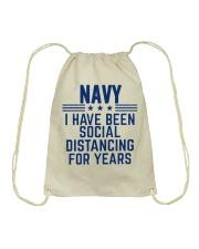 Navy Social Distancing For Years Drawstring Bag thumbnail