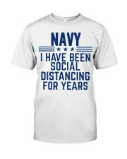 Navy Social Distancing For Years Classic T-Shirt front