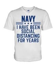 Navy Social Distancing For Years V-Neck T-Shirt thumbnail