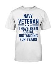Navy Veteran Social Distancing Classic T-Shirt front