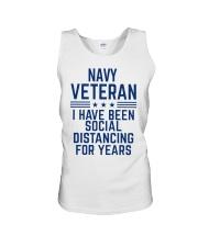 Navy Veteran Social Distancing Unisex Tank thumbnail