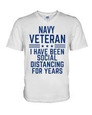 Navy Veteran Social Distancing V-Neck T-Shirt thumbnail