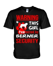 Girls Protected By Berner Dog V-Neck T-Shirt thumbnail