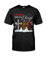 Christmas begins with Christ Snowman Premium Fit Mens Tee thumbnail