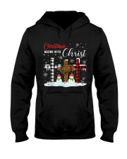 Christmas begins with Christ Snowman Hooded Sweatshirt front