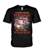 Trucker Never Quit V-Neck T-Shirt thumbnail