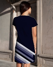 Multi-Blue Lines All-over Dress aos-dress-back-lifestyle-1