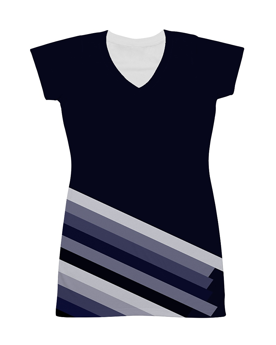 Multi-Blue Lines All-over Dress