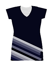 Multi-Blue Lines All-over Dress front