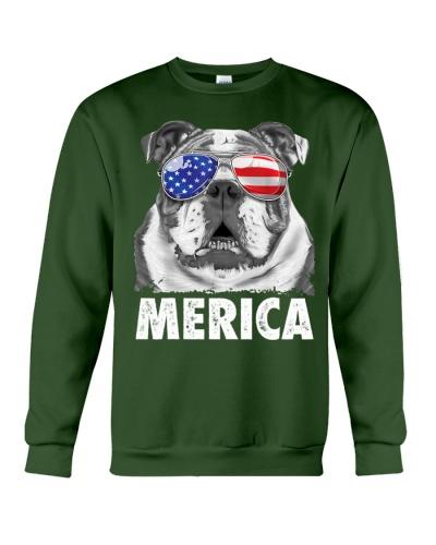 English Bulldog 4th of July Merica Men USA Flag
