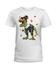 Dinosaur Thanksgiving Pilgrim Shirt T Rex Gifts Ladies T-Shirt thumbnail