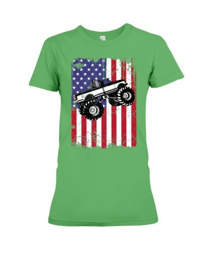 Monster Truck American Flag Racing USA