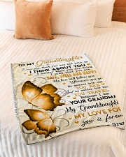 "I THINK ABOUT YOU - GRANDMA TO GRANDDAUGHTER Small Fleece Blanket - 30"" x 40"" aos-coral-fleece-blanket-30x40-lifestyle-front-01"