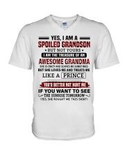 YES I AM A SPOILED GRANDSON V-Neck T-Shirt tile