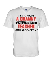 NOTHING SCARES ME - PERFECT GIFT FOR TEACHER  V-Neck T-Shirt tile